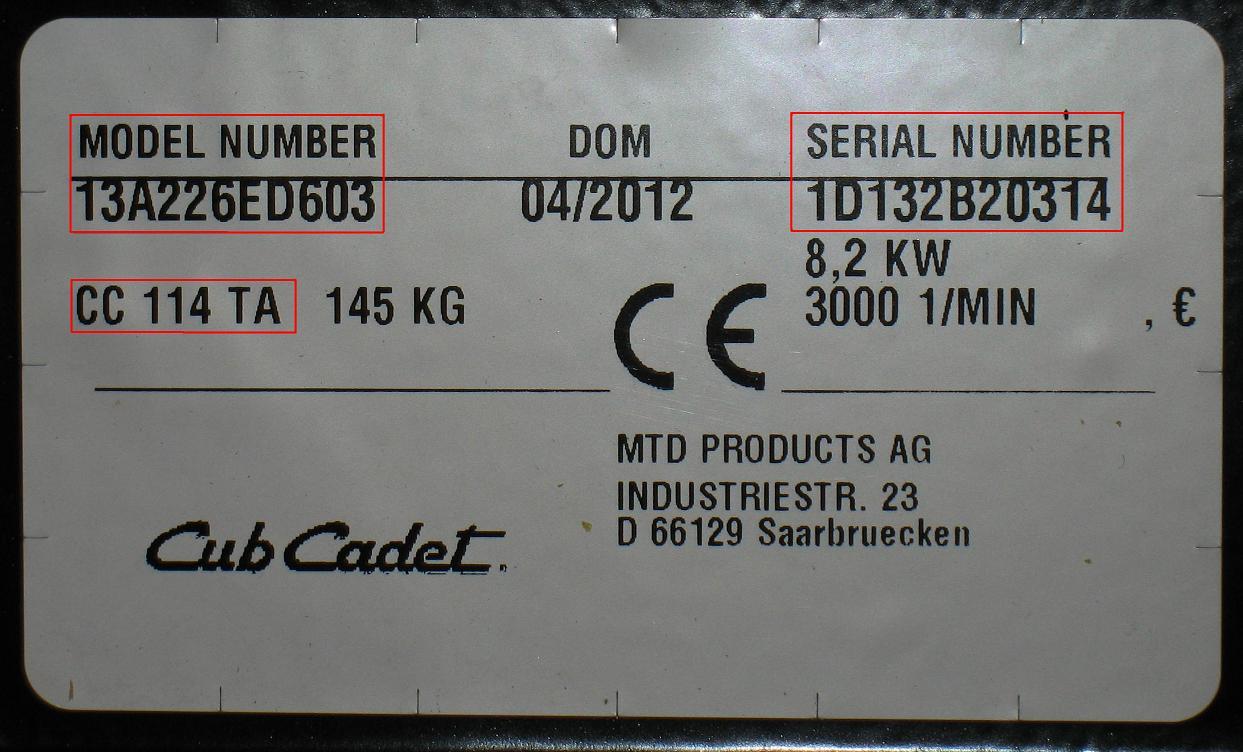 výrobní štítek CubCadet