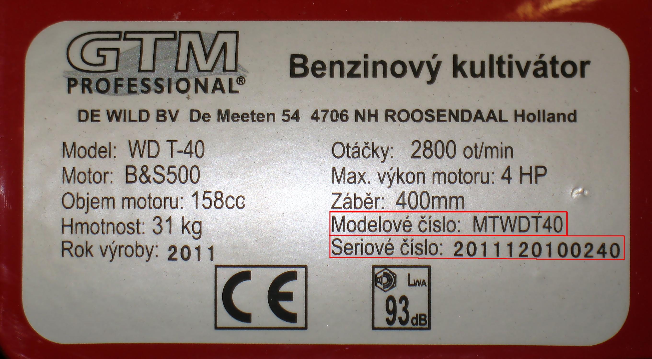 výrobní štítek GTM