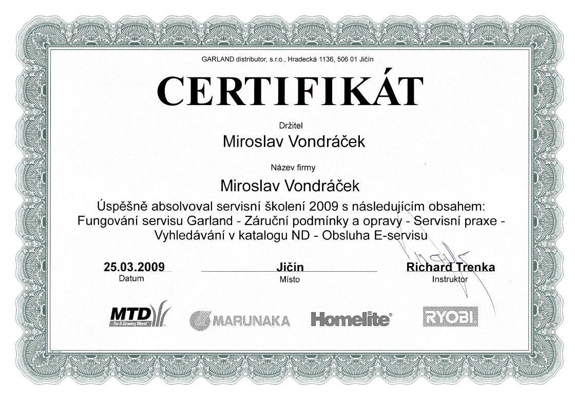 Certifikát servisního školení MTD